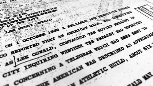 "Part of a file from the CIA, dated Oct. 10, 1963, details ""a reliable and sensitive source in Mexico"" report of Lee Harvey Oswald's contact with the Soviet Union embassy in Mexico City. (AAP)"