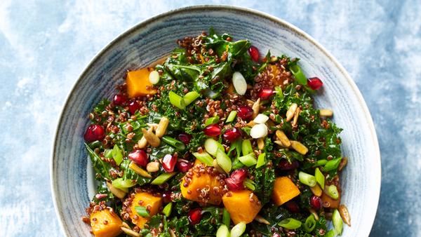 Kale, pumpkin, pomegranate salad |  Healthy