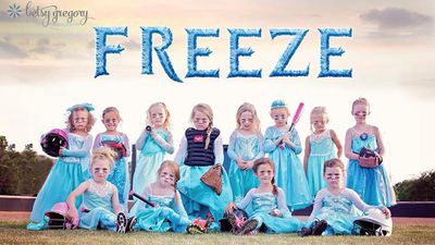 "Photos of a girls softball team in Oklahoma, US have gone viral, after the adorably fierce portrait was shared on Facebook.  The images, which features four and five-year-olds in princess dresses inspired by the Disney film Frozen, shows the girls putting on their meanest faces.  The photos have already been reshared hundreds of times.  ""You can do anything you set your mind to,"" photographer Betsy Gregory told NewsOK.com.  ""As a mom, that's what we want our girls to feel the power to do, to step up and try anything."""