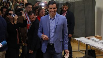 Spain's Prime Minister Pedro Sanchez prepares to cast his vote.