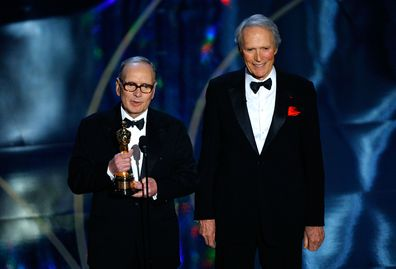 Ennio Morricone received an  Honorary Academy Award from Clint Eastwood during the 79th Annual Academy Awards in 2007