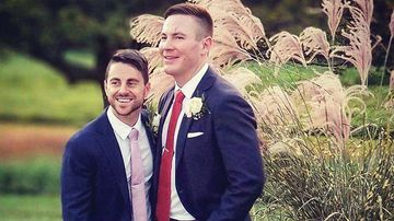 Stephen Heasley (right) and Andrew Borg on their wedding day. Photo: Wigdor LLP