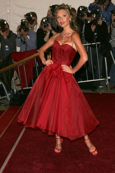 Victoria Beckham inRolandMouret at the 2006 Met Gala in New York City, May 2006
