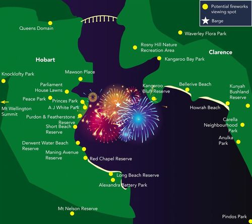 Map of New Year's Eve fireworks viewing locations in Hobart.