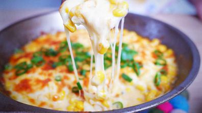 Cheesy one-pan corn