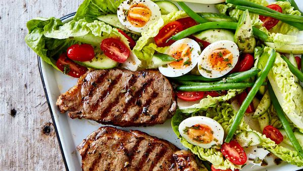 Steak with nicoise salad
