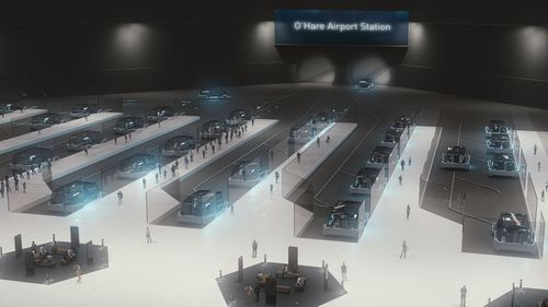 Entrepreneur Elon Musk is launching a futuristic transport system which he claims will zoom passengers from airport to city speeds of up to 150pmh in Chicago.