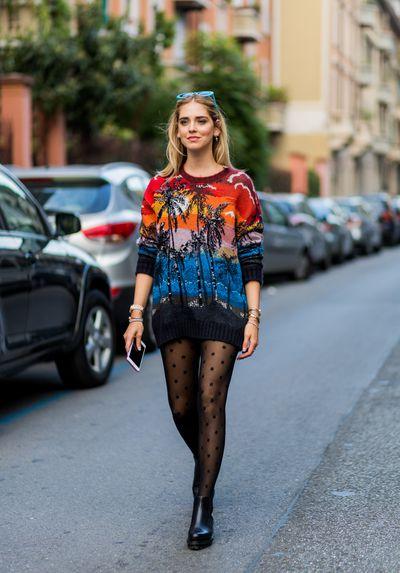 Chiara Ferragni outside No 21, Milan Fashion Week