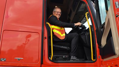Scott Morrison at a trucking company in West Wodonga.