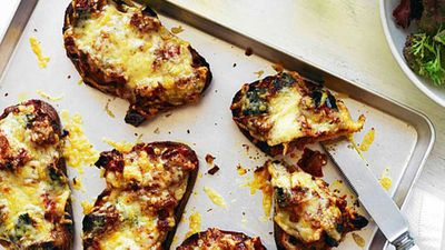 <strong>Provolone and eggplant toasts</strong>