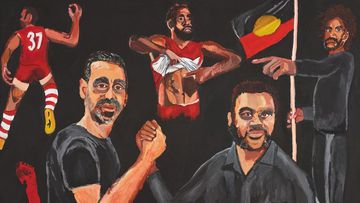 Archibald Prize 2020 winner Vincent Namatjira Stand strong for who you are acrylic on linen