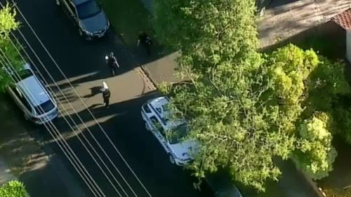 The allegedly armed man was arrested on Barcelona Street, Box Hill. (9NEWS)