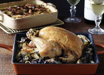 Chicken roasted with fennel, radicchio and cider with dauphinoise potatoes