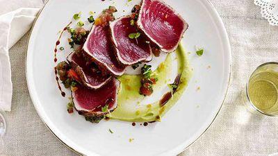 "Recipe:<a href=""http://kitchen.nine.com.au/2016/05/16/13/37/tuna-carpaccio-la-zingara"" target=""_top"">Tuna carpaccio ""la zingara""</a>"