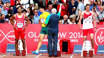 Guillaume Thierry of Mauritius, Jake Stein of Australia and Martin Brockman of England after the first false start during heat 1 of the Men's Decathlon 100 metres at Hampden Park. (Getty Images)