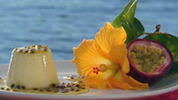 White choc panna cotta with passionfruit sauce