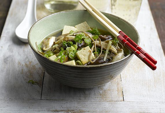 Miso soup with tofu, Asian greens, shitake mushrooms and buckwheat noodles