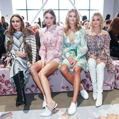 Olivia Palermo, Bambi Northwood-Blyth, Nina Agal and guest at Zimmermann's A/W '18 show in New York City