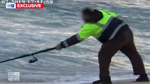 One man was seen fishing despite been spotted on crutches earlier.
