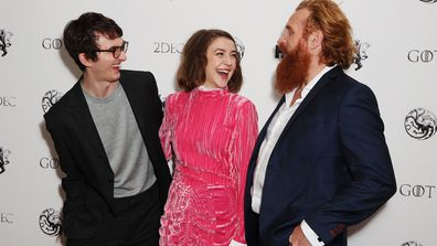 Isaac Hempstead Wright, Gemma Whelan and Kristofer Hijvu at Game of Thrones A Celebration event London