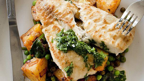 Blue-eye cod with Spanish potatoes, peas and chorizo