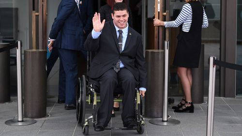 Jordon Steele-John arriving at Parliament House in Canberra ahead of being sworn-in to the senate this morning (Image: AAP)