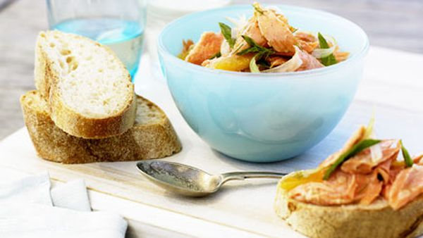 Poached ocean trout, fennel and orange salad with baguette