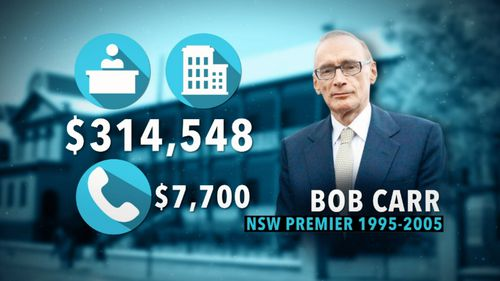 Bob Carr's spendings included an office in the same building, a staffer, and $7700 in phone costs.