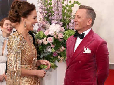 """Kate Middleton, the Duchess of Cambridge, meets actor Daniel Craig as she attends the """"No Time To Die"""" World Premiere at Royal Albert Hall on September 28, 2021 in London, England. (Photo by Chris Jackson/Getty Images)"""