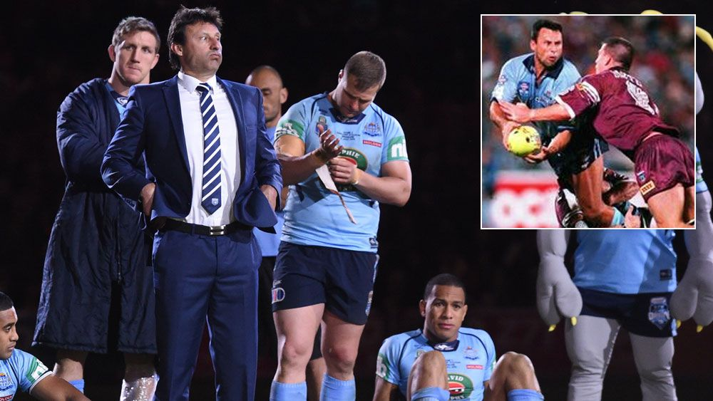 Laurie Daley with his players after Origin III in 2016 and (inset) in action for the Blues in 1989, (AAP)