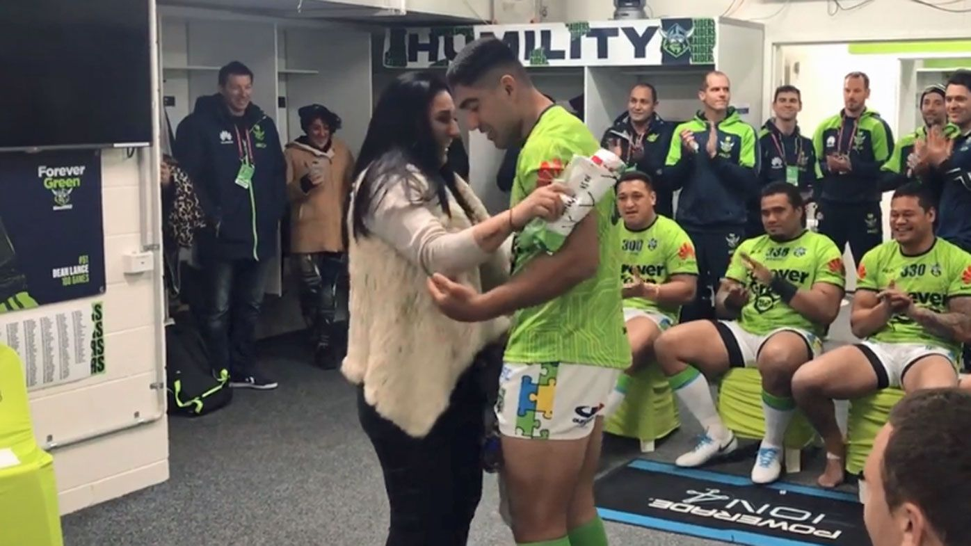 Canberra Raiders debutant Emre Guler in tearjerking jumper presentation from mum Derya