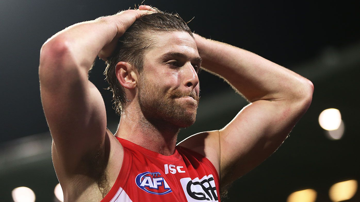 'Embarrassed' Sydney Swans star Dane Rampe opens up on goalpost climb and umpire abuse