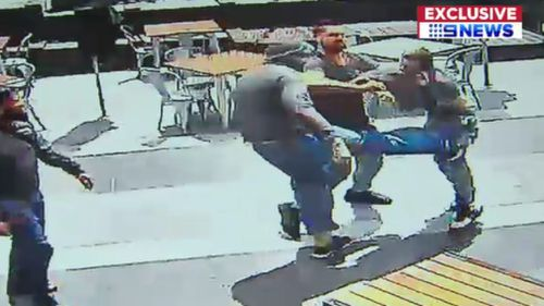 The brawl unfolded outside a Dandenong cafe. (9NEWS)
