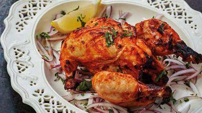 "Recipe:&nbsp;<a href=""http://kitchen.nine.com.au/2017/09/06/05/33/tandoori-murgh-tandoori-chicken"" target=""_top"">Tandoori murgh tandoori chicken</a>"