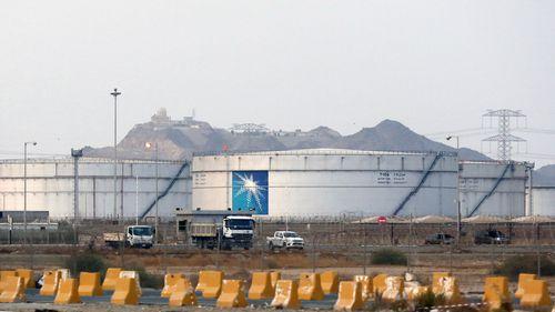 Storage tanks at the North Jiddah bulk plant, an Aramco oil facility, in Jiddah, Saudi Arabia.
