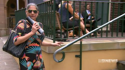 Sara Clyne outside Manly Court today, where she faced the drink driving charge. (9NEWS)