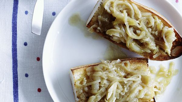 Slow-cooked garlic and onion with toasted baguette