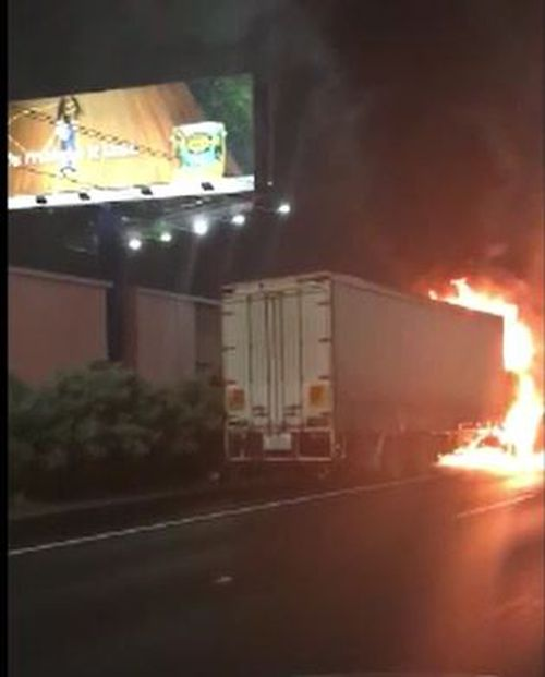 A truck has burst into flames on the side of a road near Melbourne's Tullamarine Airport.