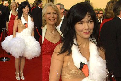 <b>Bjork 2001</b><br/><br/>Trust Bjork to nail the ultimate combination. Nude - the creepy flesh coloured body stocking; and frumpy - she's wearing a swan, for Christ's sake.