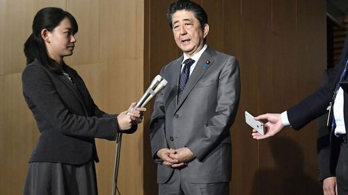 Japan's Prime Minister Shinzo Abe speaks to reporters at his prime minister's official residence in Tokyo, Feb. 21, 2020. Prime Minister Shinzo Abe should be basking in the limelight this year in the run-up to the 2020 Tokyo Olympics. Instead, the virus outbreak that has spread from China to even remote parts of Japan has Abe and his ruling Liberal Democratic Party playing defensive.