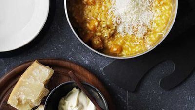 "Recipe: <a href=""http://kitchen.nine.com.au/2016/05/17/09/58/pumpkin-and-vermouth-risotto-with-parmesan-and-mascarpone"" target=""_top"">Pumpkin and vermouth risotto with Parmesan and mascarpone</a>"