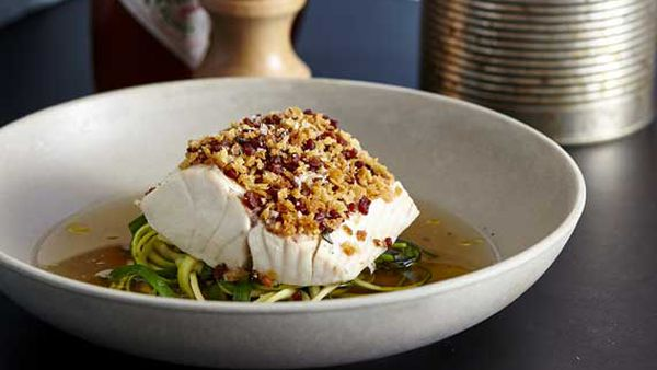 The Fish Shop's steamed blue-eye trevalla with zucchini and garlic chive 'noodles' with bacon dashi, bacon crumbs