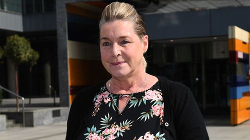 Ms McDowall leaves the royal commission hearing in Melbourne today. (AAP)