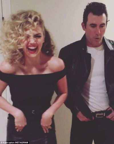 Kate Upton and husband Justin Verlander doing their best Sandy and Danny impersonation in 2017