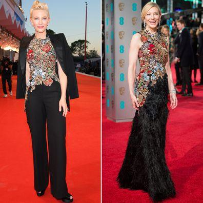 Cate Blanchett at the 2020 Venice Film Festival and the 2016 BAFTA Awards.