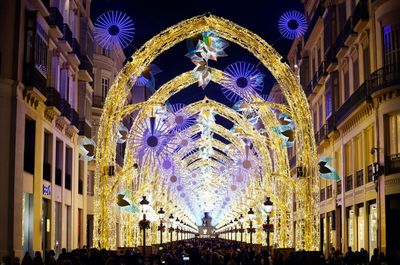 Inauguration of the Christmas lights In Malaga, Spain