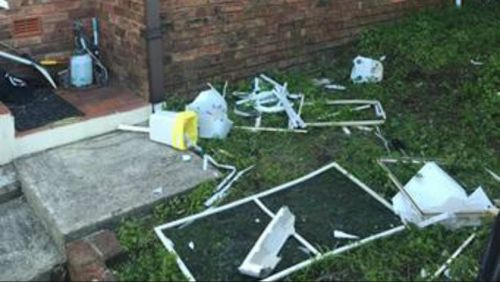 A toilet was ripped from the floor and thrown through a window during an alleged home invasion in Bexley overnight. (9NEWS)