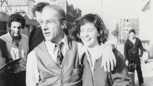 Dustin Hoffman with Anna Graham Hunter on the set of the Death of a Salesman TV film. (Anna Graham Hunter)