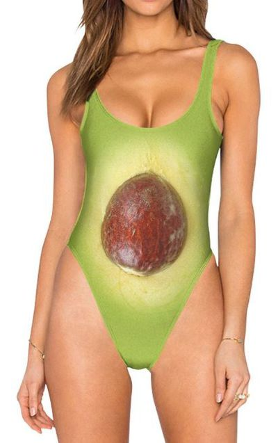 """<p>When you want everyone to know what you had for breakfast.</p> <p><a href=""""https://www.belovedshirts.com/products/avocado-other-half-one-piece-swimsuit-high-legged"""" target=""""_blank"""" draggable=""""false"""">High Legged Avocado One-Piece Swimsuit</a>, $49.95</p>"""
