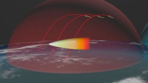 The graphics were shown during Mr Putin's state-of-the-nation speech. In this image, an Avangard gliding hypersonic warhead is shown maneuvering to bypass zones of detection and destruction by missile defense weapons. (AAP)